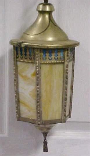 Vintage caramel blue white slag glass lamp