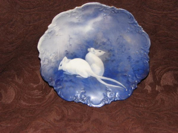 1: Hand painted Victorian plate w/mice
