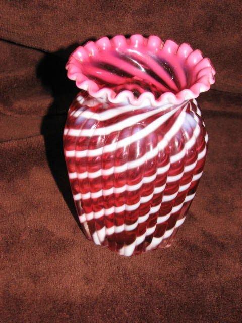 19: Victorian Cranberry fluted vase
