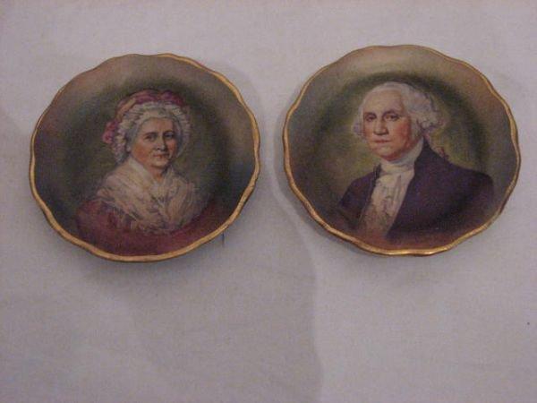 23: Pair hand painted George & Martha Washington plates