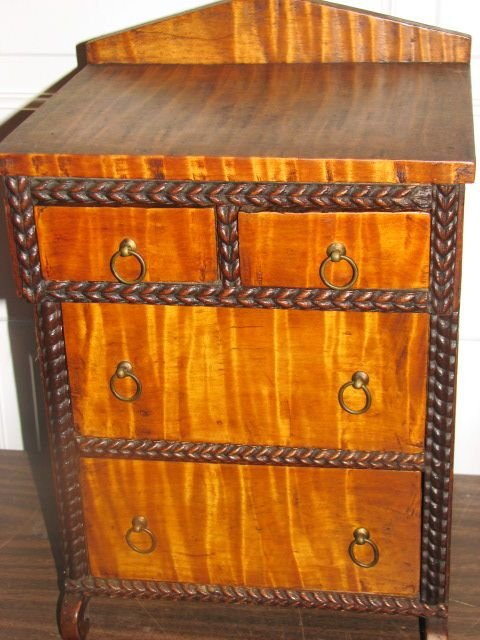 24: Period Cherry & Curly maple salesman sample chest