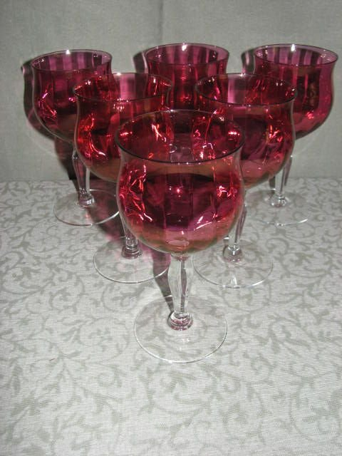 216: Lot of 6 Cranberry stemware