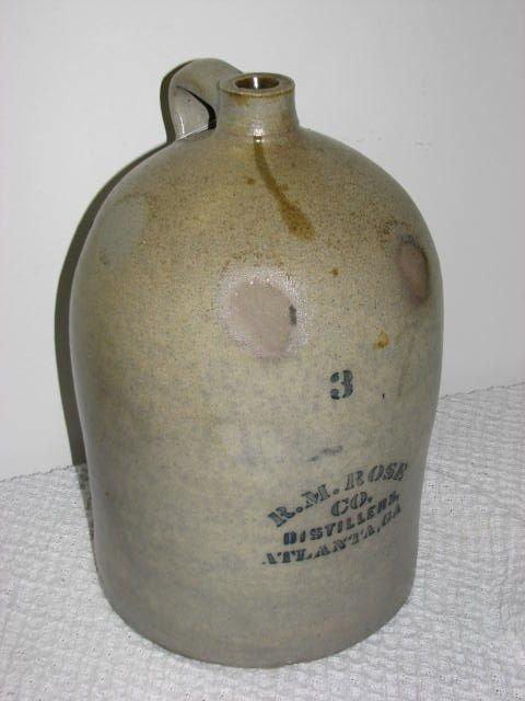 15: R.M. Rose Distillers Atlanta Ga 3 gallon jug.