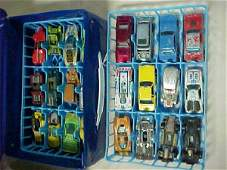 98: Lot of 24 Hot Wheels Red line tires toys w/storage