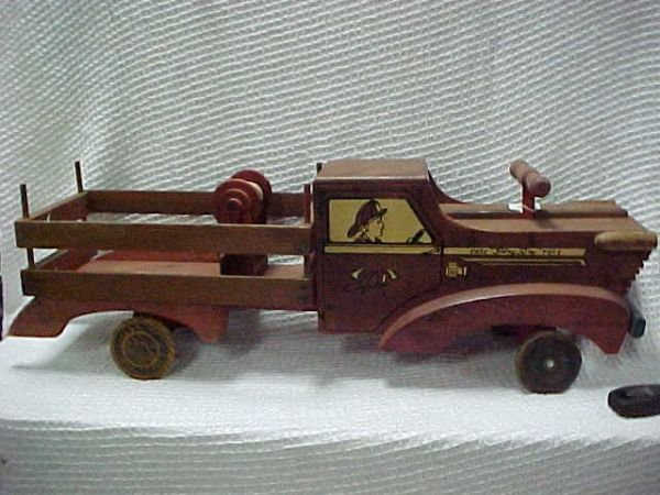 1513: Cass Playboy Stakebed truck large wooden rare toy