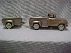 1520: Rare gold/bronze Tonka pickup w/matching trailer.