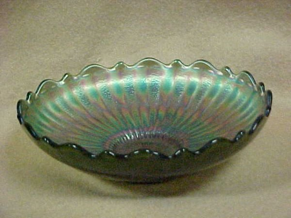 2001: Early carnival glass bowl w/ruffle edges.