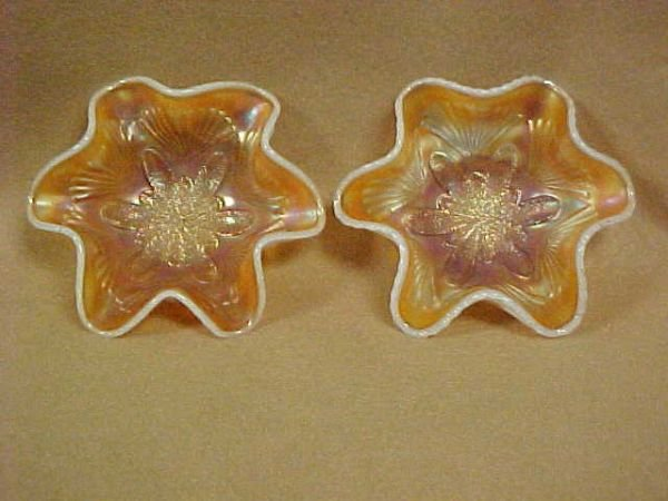 2004: Pair Opalescent Carnival glass fluted bowls.