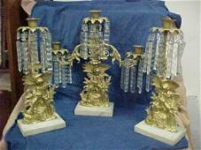 2018: 3 piece Victorian candle holder set brass & cryst