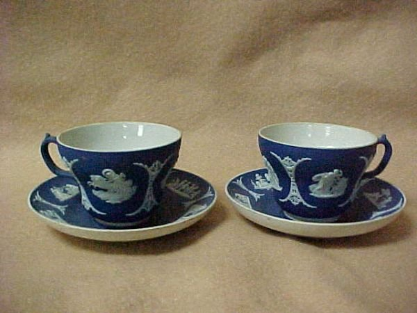 3007: Pair of Jasperware Wedgewood cups & saucers.