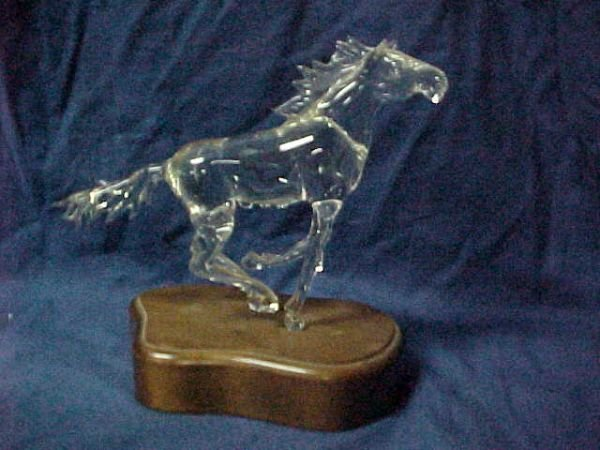 3015: Rare George Frable crystal glass horse.