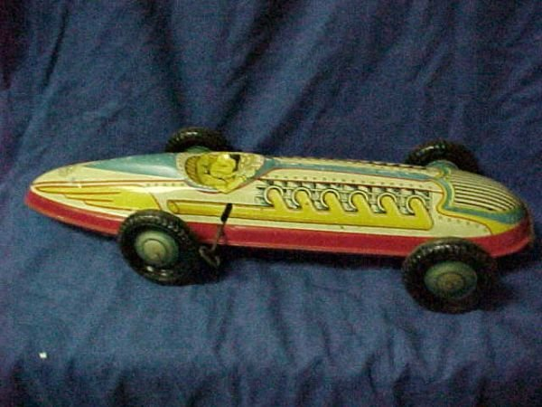 3022: Marx toy race car racer tin litho windup original