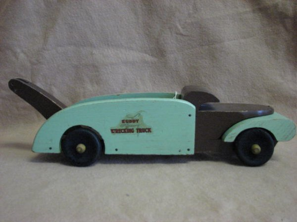 7: 1940's Buddy L wooden wrecking truck WWII