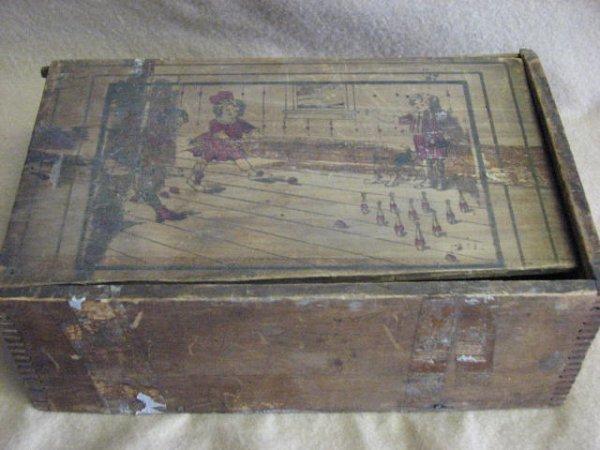 24: Vintage childs bowling set 1880's wooden original.