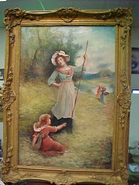 113: 1880's Victorian oil painting on canvas signed