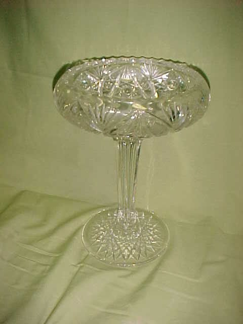 208: Brilliant period zipper cut glass compote.