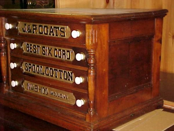 240: Restored oak spool cabinet J P Coats