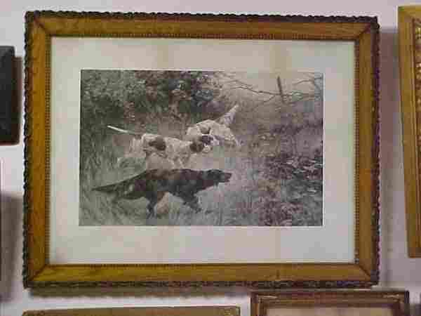 1892 oak framed print hunting dogs