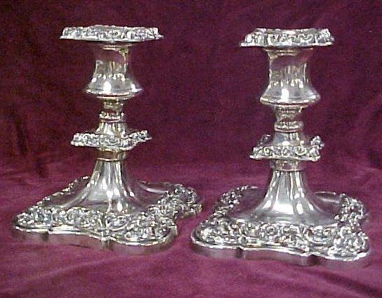 414: Victorian weighted silverplate candlesticks