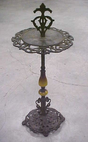 415: Vintage ornate iron ash tray stand