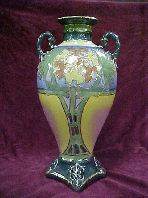 417: Limoge two handled vase marked