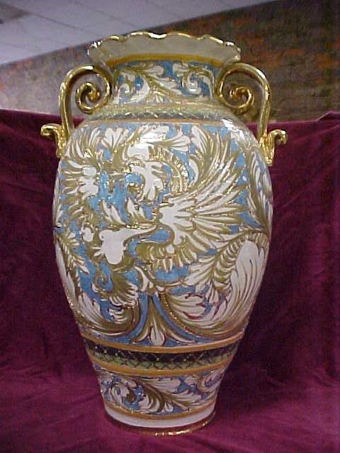 420: Large gold trimmed porcelain vase