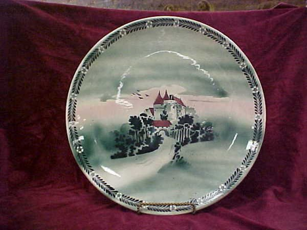 "421: 12-1/2"" Delft green plate Castle view"