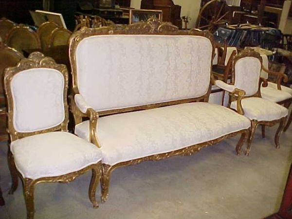 458: 1930-50s carved gold gilded setee 2 chairs