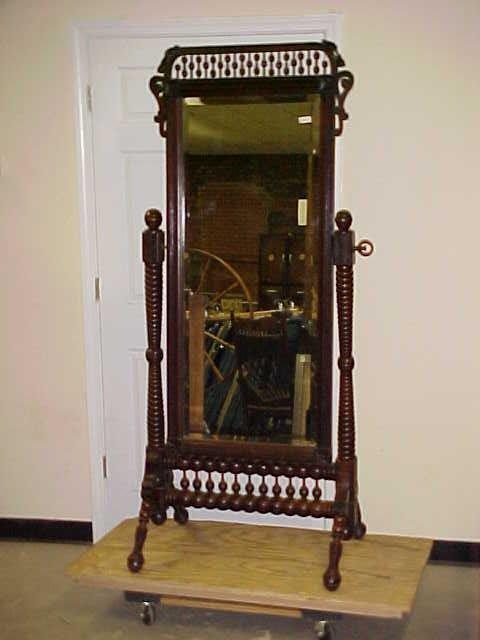 476: 1880s Victorian cherry Chevel mirror stick & ball