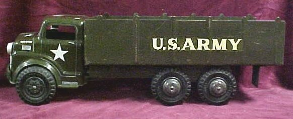 708: 1950s Marx dual axle US Army toy truck