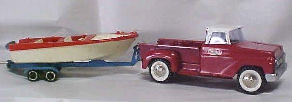 1950s Tonka pickup w boat and trailer