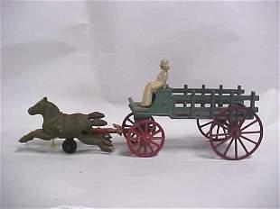 1920-30s cast iron farm wagon 2 horses lady