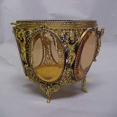 827: Vintage glass gilt gold jewelry box cherubs