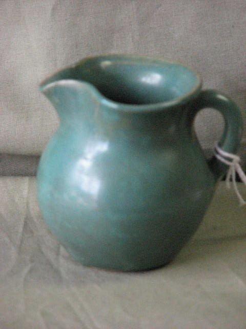 1: W.J. Gordy pottery green glaze pitcher.
