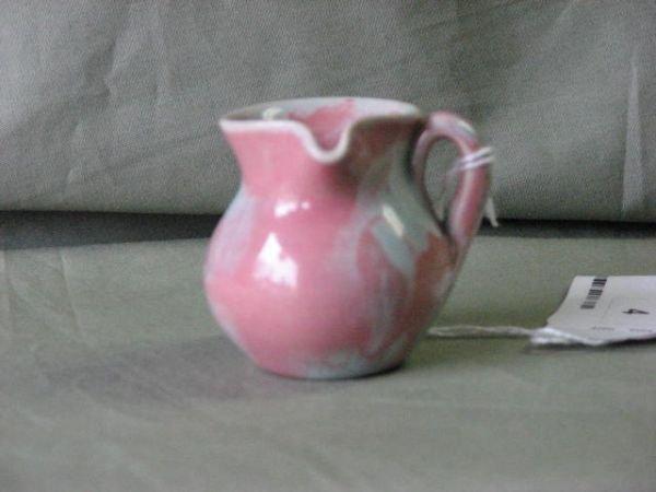 4: Small W.J. Gordy pink & cream over glaze pitcher.