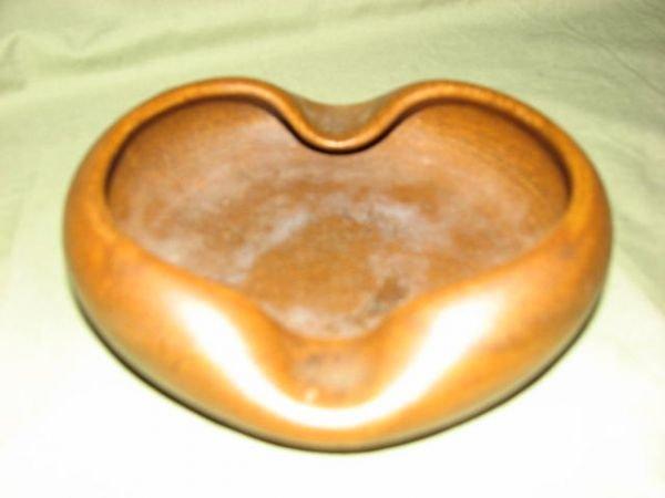 14: W.J. Gordy Mountain gold glaze ash tray.