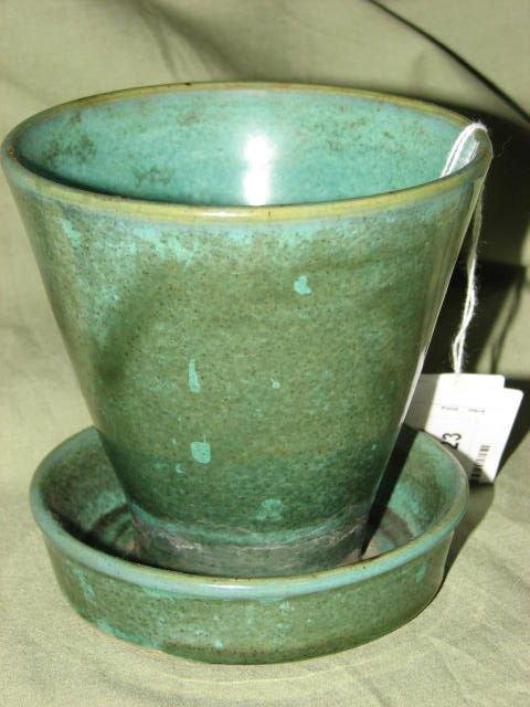 23: W.J. Gordy green glaze planter