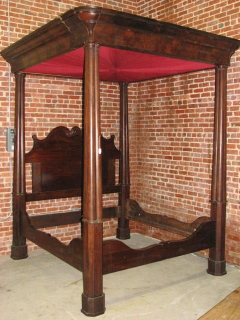 115: Rare Kingsize full Tester Empire mahogany bed. 184