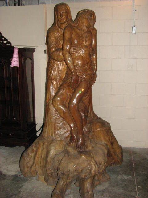 501: Huge hand carved statue of Mary holding Jesus teak