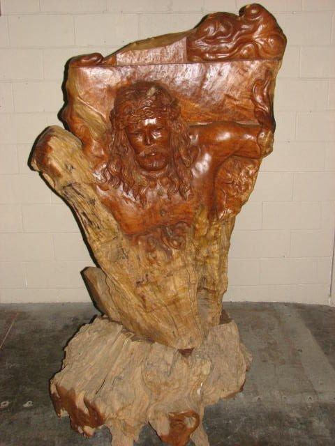 502: Hand carved teakwood Jesus on cross statue
