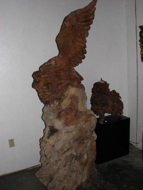 506: Huge eagle w/snake carving teakwood statue