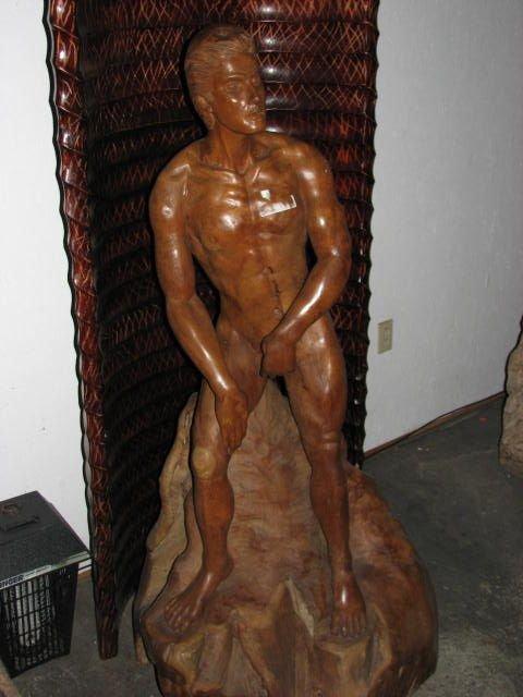 507: Nude male carved statue teakwood figure.