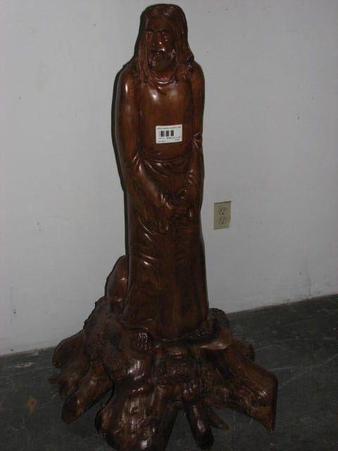 508: Hand carved teakwood statue of Jesus