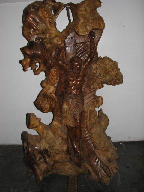 509: Lifesize Jesus on cross carving teakwood statue.