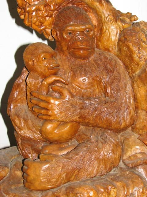 511: Hand carved teakwood stump carving w/monkeys.
