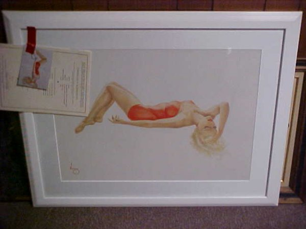 "513: 1991 Lithograph Varga girl ""Day Dreaming"" limite"