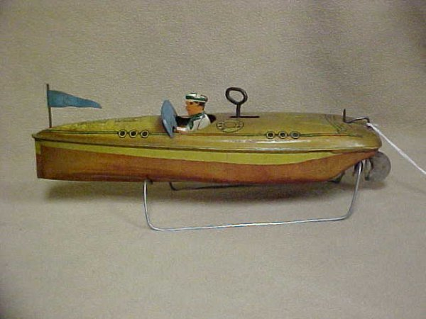 5: Baby Wee Tin litho wind up boat original