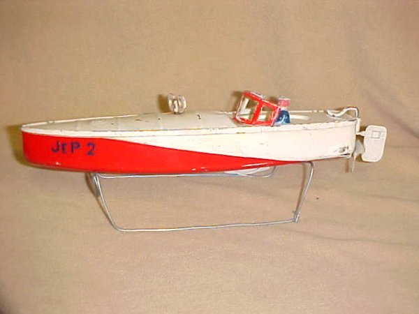 6: Jep 2 France wind up tin boat working. Original