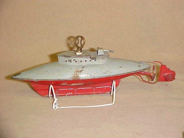 7: Sutcliffe England tin wind up submarine original