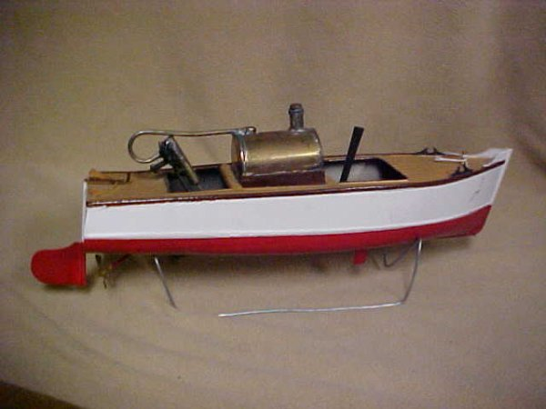 8: 1930's Japanese Live Steam powered boat original